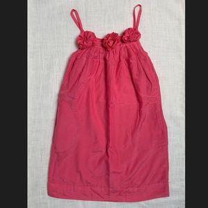 CREWCUTS 8 Pink Rosette Shift Dress Cotton/Silk